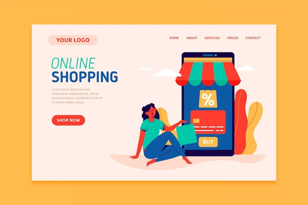 Shopping online landing page flat design template