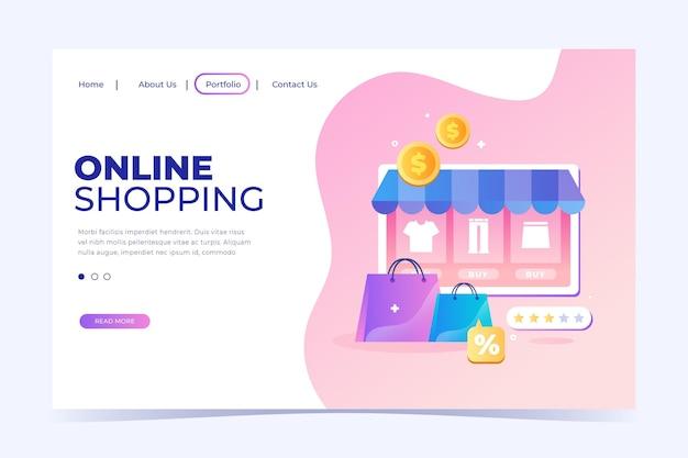 Shopping online landing page in flat design