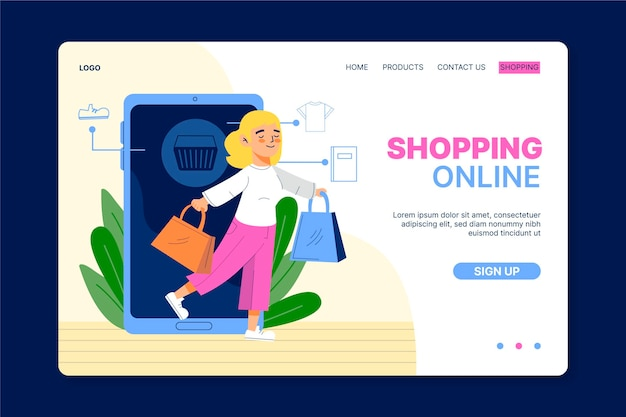 Shopping online landing page in flat design