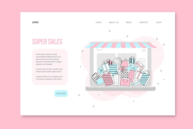 Shopping online landing page template design