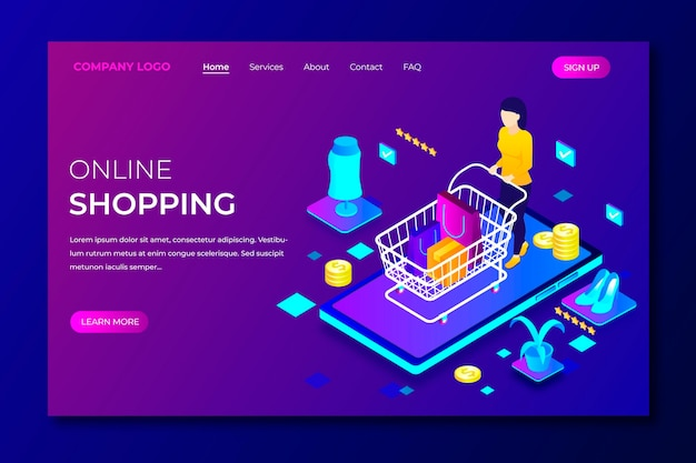 Shopping online landing page template in isometric style