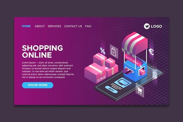 ショッピングオンラインランディングページテンプレートアイソメ図スタイル