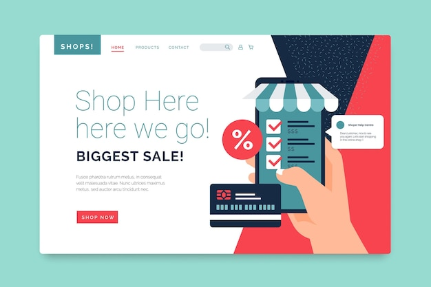 Shopping online landing page template