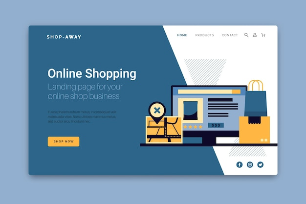 ショッピングのオンラインランディングページのウェブテンプレート