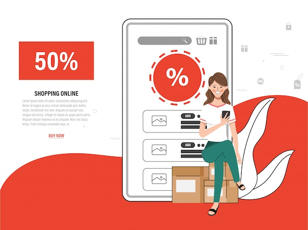 Shopping online landing page with customer and application mobile.