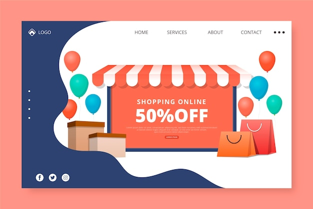 Shopping online landing page with discount