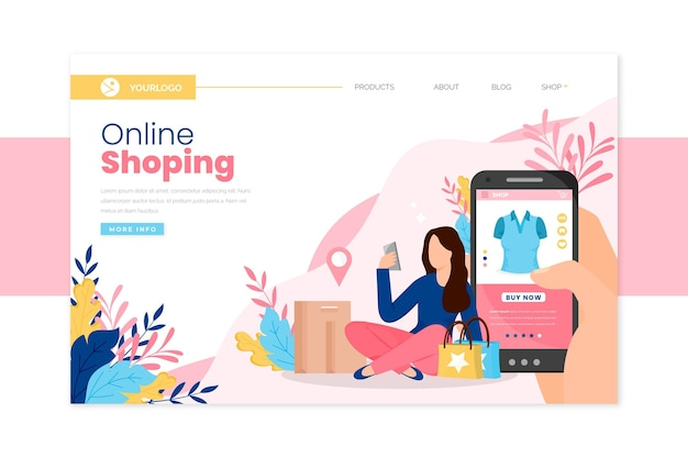 Shopping online landing page