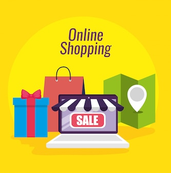 Shopping online and laptop ecommerce technology