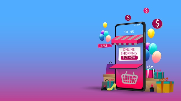 Shopping online on mobile application concept marketing and digital