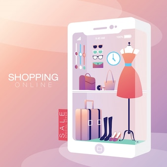 Shopping online on mobile phone