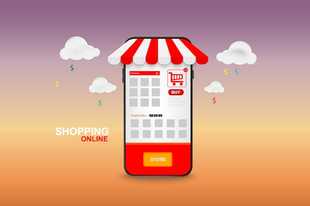 Shopping online on mobile. vector