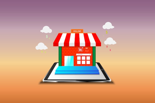 Shopping online on mobile. vector