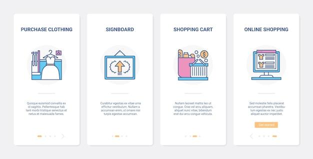 온라인 쇼핑 현대 인터넷 기술 ux ui 온보딩 모바일 앱 페이지 화면 세트