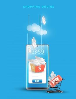 모바일 애플리케이션에서 온라인 쇼핑. 컨셉 마케팅 및 디지털 마케팅