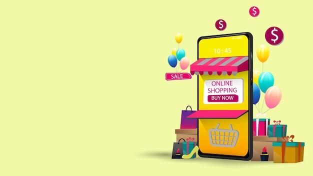 モバイルアプリケーションコンセプトマーケティングとデジタルでのオンラインショッピング
