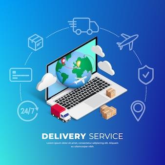 ウェブサイトまたはモバイルアプリケーションでのオンラインショッピング。ノートパソコン、惑星、周りの線のアイコンと3 dの等尺性デジタルコンセプトマーケティングイラスト。 webバナー、インフォグラフィック、プレゼンテーションに使用