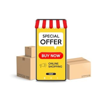 웹 사이트 또는 스마트 폰으로 온라인 쇼핑의 모바일 응용 프로그램 개념에서 온라인 쇼핑.