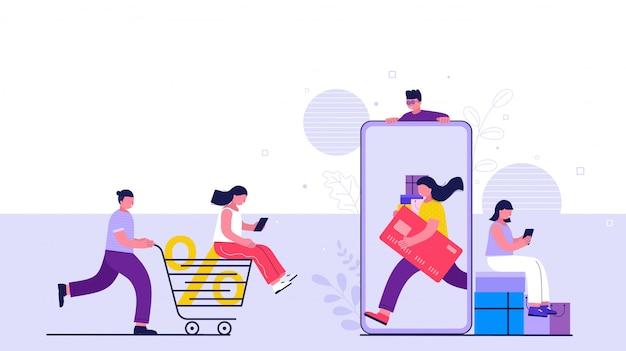 Покупки онлайн на сайте или в мобильном приложении. люди покупают онлайн, делая платежи со смартфона.