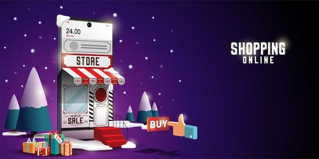 Ходить по магазинам онлайн на вебсайте или концепции приложения вектора мобильного маркетинга и цифровом маркетинге. счастливого рождества