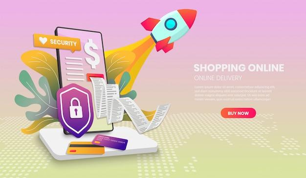 Покупки в интернете на веб-сайте или мобильном телефоне с ракетным приложением vector 3d векторная иллюстрация