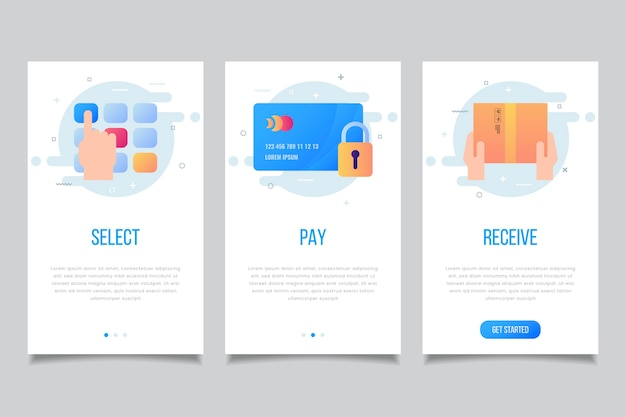 Shopping online onboarding app screens