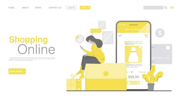 Shopping online and online payment on mobile application landing page