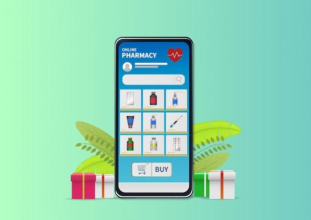 Shopping online pharmacy on website or mobile application.