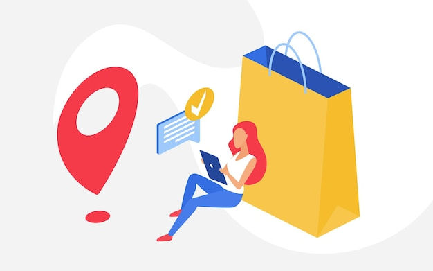 大きな買い物袋の横に電話で座っているショッピングオンライン販売コンセプトの女性買い物客