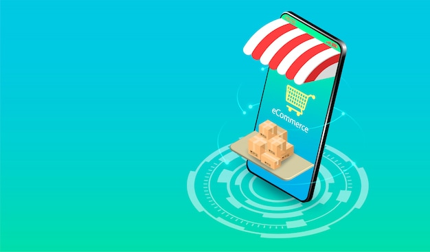 Shopping online on smartphone with e-commerce system. isometric flat design