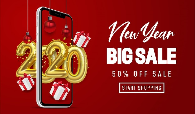 Shopping online, special offer new year big sale, red background on mobile