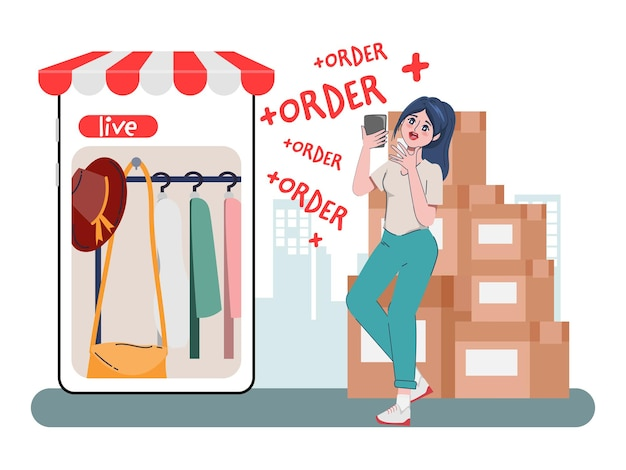 Shopping online store concept with woman character