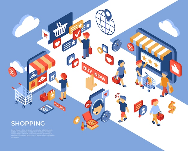 Shopping online store isometric landing page with happy customers