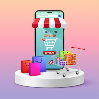 휴대 전화 및 가방을 통해 온라인 상점 쇼핑 연단에 서 있는 쇼핑 카트 선물 상자