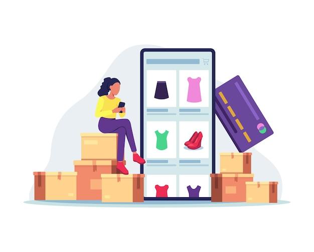 Покупки в интернете с помощью мобильного телефона. в плоском стиле