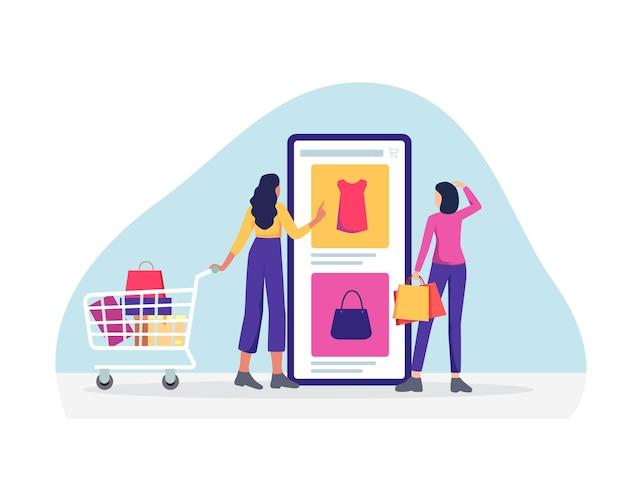 携帯電話を使用したオンラインショッピング。フラットスタイルで