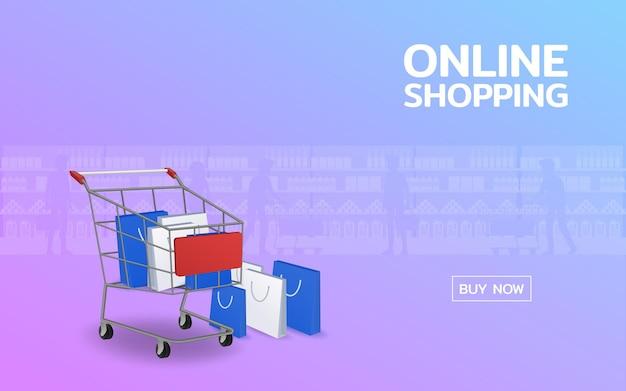 购物网上网页与购物袋的推车和堆。在互联网应用设计概念上方便的全球营销。