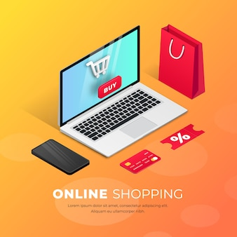 Shopping online on website or mobile application. 3d  isometric concept marketing illustration. smartphone, shopping bag, credit card around laptop. for web banner, infographics, presentation