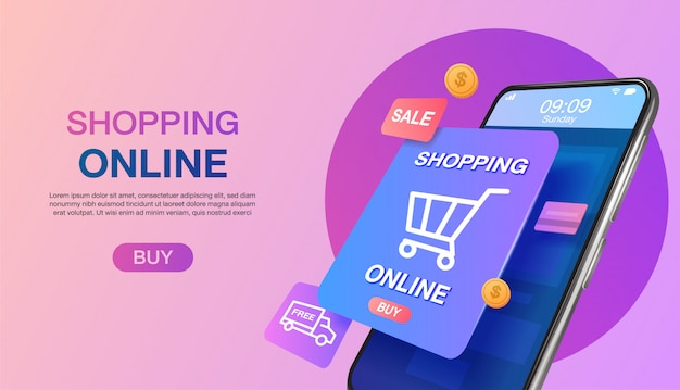Shopping online on website or mobile application landing page   concept marketing and digital marketing.
