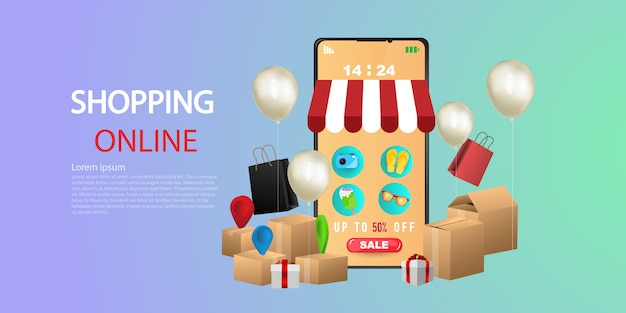 Shopping online on website, service package appear from screen phone by courier at home.