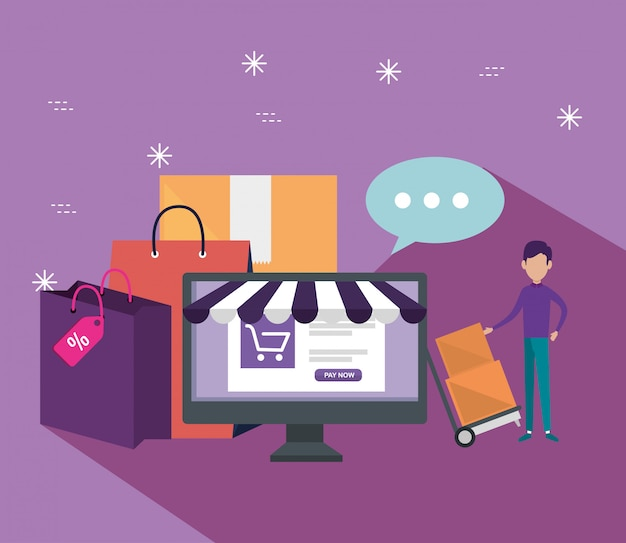 Shopping online with computer and ecommerce sale