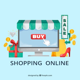 Shopping online with computer