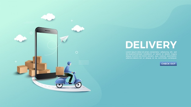 Shopping online with a delivery banner.