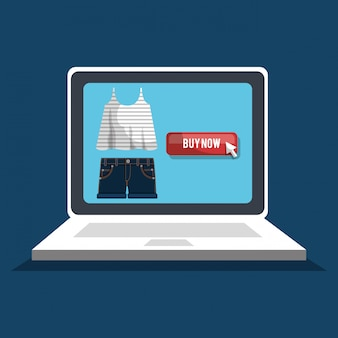 Shopping online with laptop computer banner