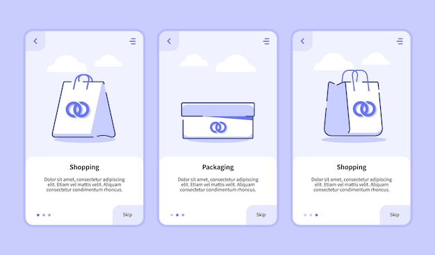 Shopping packaging onboarding screen