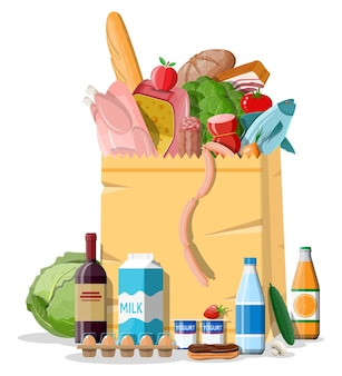 Shopping paper bag with fresh products. grocery store, supermarket. food and drinks. milk, vegetables, meat, chicken cheese, sausages, salad, bread cereal steak egg.