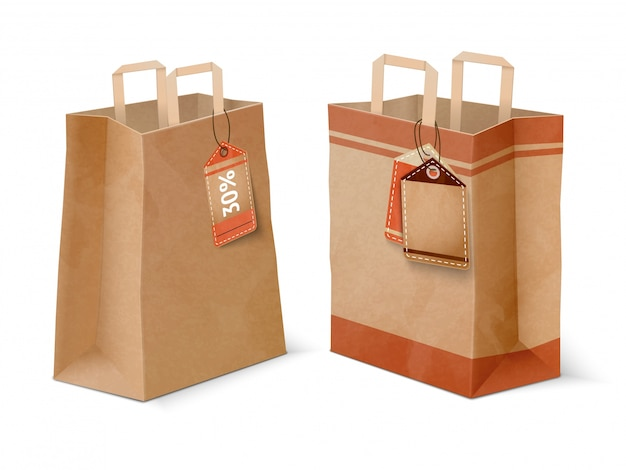 Shopping paper bags and sale labels template