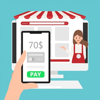 Shopping and payment online on website.