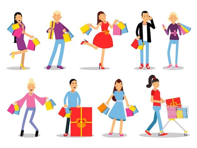 ショッピングの人々の概念。フラットなデザイン。笑顔の女性と男性のキャラクター、ギフト用の箱、紙袋、トロリーとグッズのコレクション。購入の喜び。販売と割引について