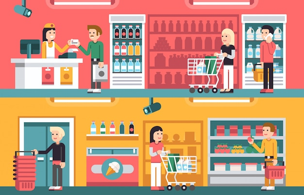 Shopping people and counter in super market interior, retail vector concepts set
