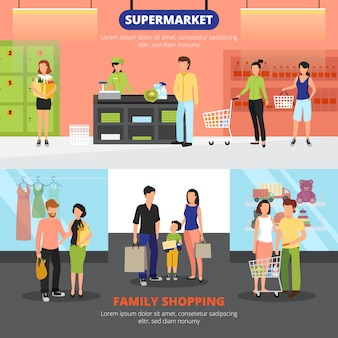 Shopping people horizontal banners set with family shopping symbols flat